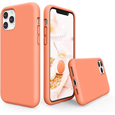 SURPHY Silicone Case Compatible with iPhone 11 Pro Max Case 6.5 inches, Liquid Silicone Full Body Thickening Design Phone Case (with Microfiber Lining) for 11 Pro Max 2019 (Peach)