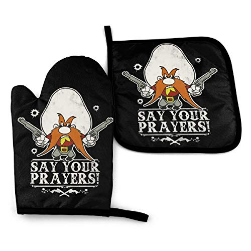 NOT Looney Tunes Yosemite Sam Machine Washable Oven Mitts and Pot Holders Sets Kitchen for BBQ Cooking (2-Piece Sets)