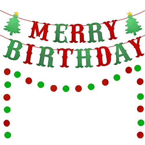 Merry Birthday Banner, Red & Green Glittery Christmas Birthday Banner Christmas Happy Birthday Banner for Christmas Birthday Party Decorations, Christmas Holiday Party Decorations, Xmas Birthday Decor