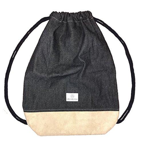 SODERBERGH Jeans Turnbeutel mit Innentasche, Sportbeutel Hipster Gym Bag Rucksack Gymsack für Damen, Herren und Kinder (Schwarz)