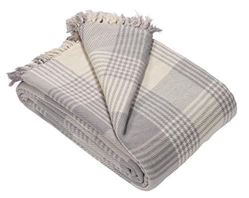 EHC - Copriletto in tartan, 100% cotone, 150 x 200 cm, per divano, poltrona, colore: grigio