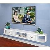 Los estantes flotantes Montado en la pared Gloss Unidad de Soporte de TV, flotante dispositivo montado en la pared Unidad Entretenimiento | decodificador Con 3 cajones blancos, se puede colocar el App