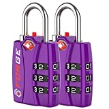 Forge TSA Luggage Combination Lock - Open Alert Indicator, Easy Read Dials, Alloy Body- Ideal for Travel, Lockers, Bags (Purple 2PK)