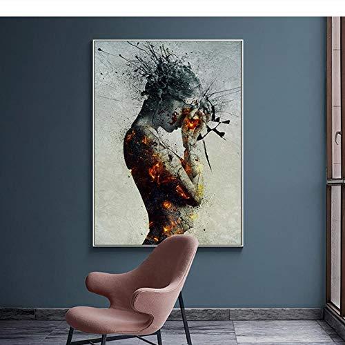 LLXHGLeinwand Malerei Portrait Poster Abstrakte Nordischen Stil Sexy Frau Feuer Wandbilder Für Wohnzimmer Bild Home Decor-60X90 cm Kein Rahmen