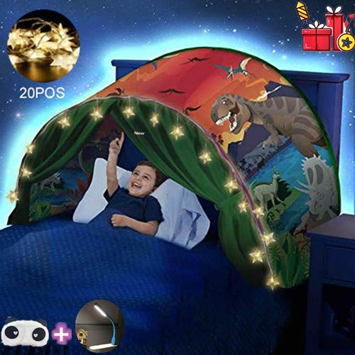 FLAYOR Dream Tents – Folding Pop Up Dream Tent Bed Tent Playhouse Tent Children Play Tents Christmas Gifts (Dinosaur + LED Chain)