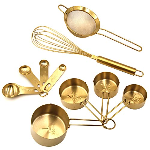 Homestia 10 Piece Gold Cooking and Baking Utensil Set Stainless Steel: 4 Pcs Measuring Cups, 4 Pcs Measuring Spoons, 12
