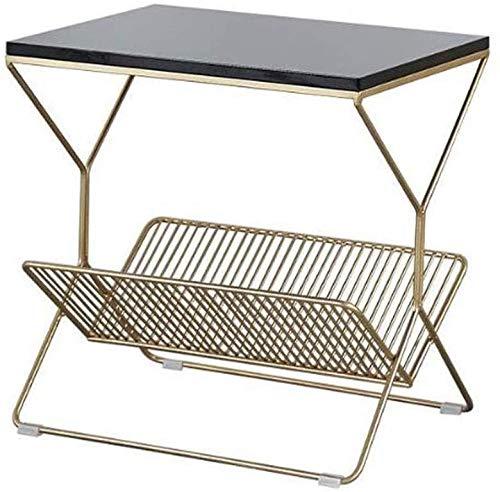 H-CAR - Tavolino da salotto, tavolino da caffè, tavolino da salotto, in ferro battuto, rettangolare, per soggiorno, studio, lettura, snack e tè (colore: Nero)