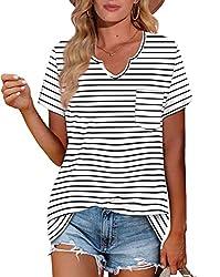 professional NIASHOT Ladies Striped T-shirt V-neck Basic Tops M Casual Short Sleeve T-shirt