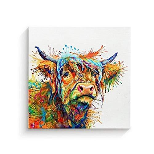 Terilizi gekleurde muur canvas schilderijen muurkunst canvas koe dieren afdrukken foto's kinderkamer wooncultuur hout binnen 50 x 50 cm niet-ingelijst