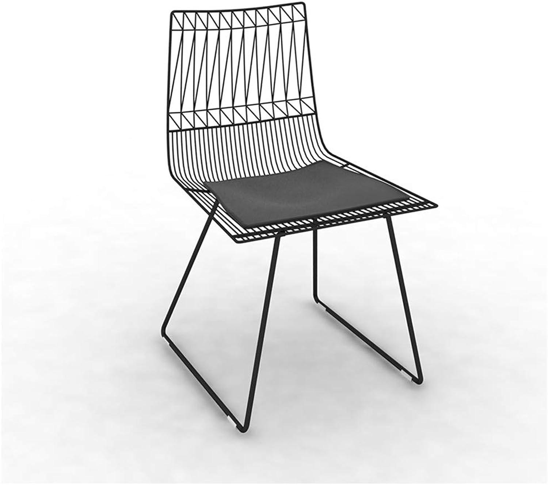 Home Bar Stool Chair European Bar Stools Hollow Mesh Wire Chair Leisure Wrought Iron Creative Furniture Dining Chair Simple Home Bar Furniture (color   Black)