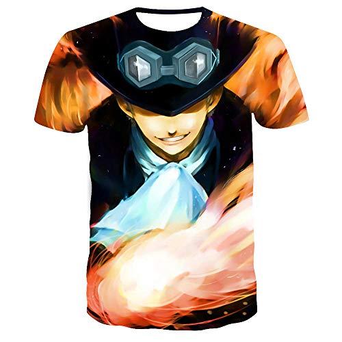 Japonesa Anime Mangas Cortas Camiseta,Una Pieza 3D impreSión Digital Casual Camiseta de Manga Corta para hombreS-XT470_S