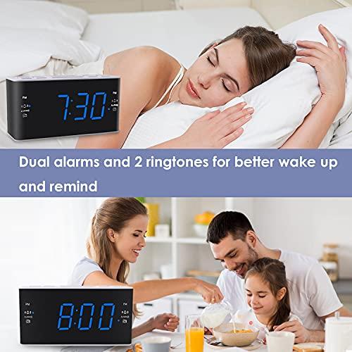 Ratakee Digital Alarm Clock Radio with AM FM Radio, Dual Alarms, Preset, Adjustable Alarm Volume, Sleep Timer and Dimmer, 4.5 Blue LED Display for Bedroom Bedside