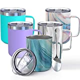 Vacuum Insulated Travel Coffee Mug - THILY 12 oz Stainless Steel Coffee Cup with Handle, Spill-Proof Lid, Keep Coffee Cold or Hot, Blue Swirl