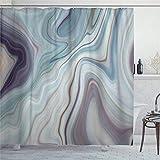 EricauBird Duschvorhang Granit Marmor abstrakt blaue Tinte flüssig Duschvorhang mit Ringen Polyestergewebe Duschvorhänge mit Haken Bad Badezimmer Dekor