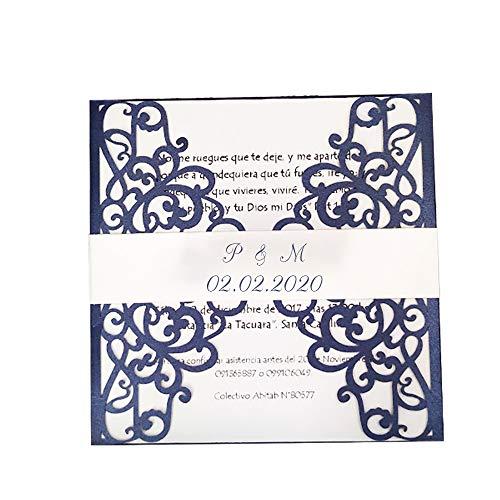 50 Kits DIY Blue Rustikale Hochzeitseinladungen mit Umschlägen Blume Laser Cut Einladungskarten Papier Blank Einladungen Personalisiert