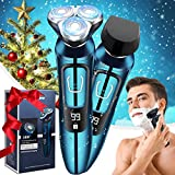 Viatia Electric Shaver for Men, 2 in 1 Wet/Dry USB Rechargeable Men Electric Razor Cordless 3D Rotary Portable Shaver Waterproof Facial Shaver with Beard Sideburn Trimmer for Boyfriend, Dad, Husband