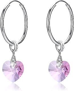 Pendientes de plata 925 MOLADY con cristales de Swarovski, colgantes en forma de corazón, joyas seguras y no alergénicas, ...