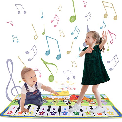 LIONVISON Musical Mat for Kids Toddlers ,Kids Piano Mat Touch Play Blanket, Keyboard Dancing Playmat with 8 Instrument Sounds and 5 Play Modes,Early Education Toys for Baby Girls Boys,39.4'X 14.2'
