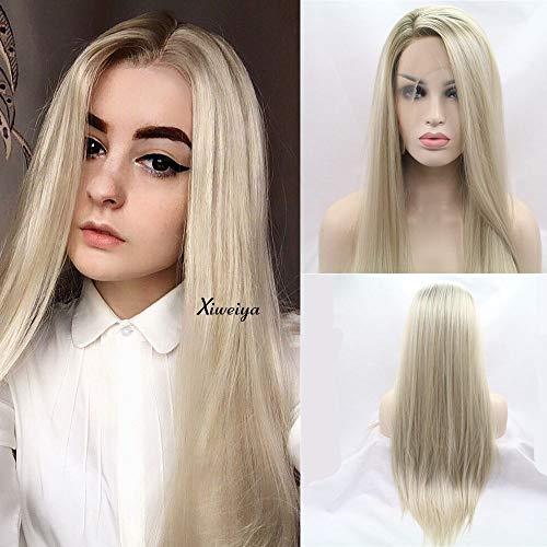 Xiweiya Perücke, hitzebeständiges Haar, Ombré-Blond, Synthetik, Spitzenperücke für Damen, Seitenteil, lang, seidig, glatt, halb handgebunden