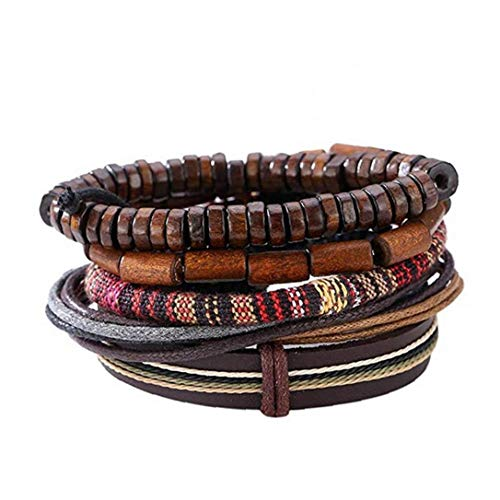 Popular Multi-Layer Leather Bracelet with Vintage Hippy Natural Wooden Beads Rope Braided Bangle Cool Leather Wristband Bracelet for Man Woman
