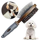 onebarleycorn - Cepillo de aseo para mascotas de doble cara, peine y cepillo para masaje y pelusa de piel, adecuado para perros o gatos de pelo largo y corto
