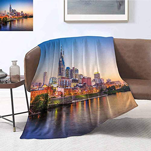 Luoiaax United States Comfortable Large Blanket Cumberland River Nashville Tennessee Evening Architecture Travel Destination Microfiber Blanket Bed Sofa or Travel W60 x L70 Inch Multicolor