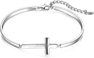 S925 Sterling Silver Sideways Infinity Cross Snowflake Adjustable Link Bracelet for Women