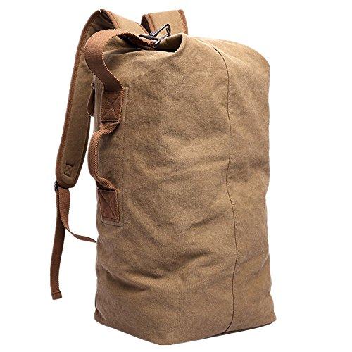 KAKA Travel Backpack Duffle Backpack Canvas Hiking Backpack Casual Rucksack Camping Backpack Sports Bag Large Capacity 35L