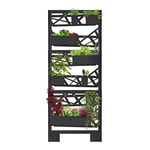 brothesign Giardino Verticale Set Grande Modulare Vaso Fioriera in Metallo per Piante Sistema riciclo Acqua Integrato Elite Black Edition, Grigio Antracite