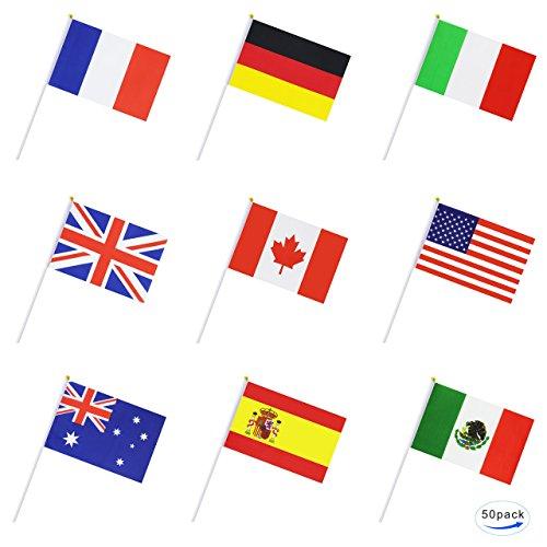 Deanyi 50 Pays International Monde Drapeau de bâton, Hand Held Petite Mini National Drapeaux banniè res sur bâton, dé corations de fê;Te pour Parades, Olympiques, Coupe du Monde de Football, Bar,