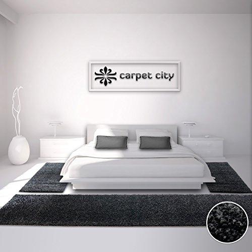 carpet city Teppich Hochflor Shaggy Bettumrandung Einfarbig Schwarz Schlafzimmer, Größe in cm:2 x 80 x 150 cm & 1 x 80 x 300 cm