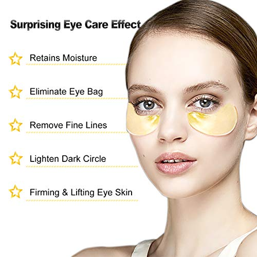 51FR c74LiL - 24K Gold Eye Treatment Mask Under Eye Patches Reduces Wrinkles and Puffiness Lighten Dark Circles Moisturizing and Anti Aging Eye Mask (30 Pairs) by SWLKG
