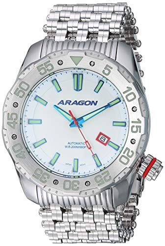 Aragon Men's Sea Charger 50mm Automatic-self-Wind Watch with Stainless-Steel Strap, Silver, 29 (Model: A081WHT)