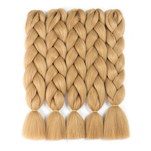 Braiding Hair Synthetic Ombre Kanekalon Braiding Hair Extensions High Temperature Fiber Crochet Twist Braids Light Brown (24', 27#)
