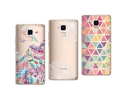 NOVAGO Compatible Huawei Honor 5C Pack de 3 Coques en Gel TPU Souple et Résistant Anti Choc avec Impression Gravée(Pack 4)