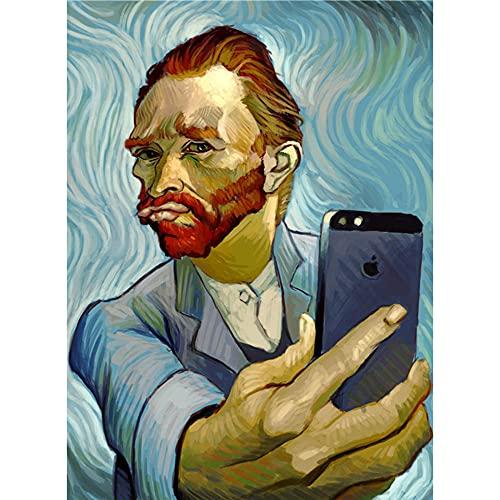 ZHXXFD Pintar Por Numeros Adultos Niños Selfie De Van Gogh Cuadros Para Pintar Por Numeros Paisajes Animales Diy Paint By Numbers Kits 40X50CM(A7)