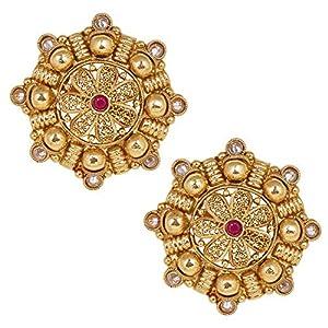 Shiining Jewel 18K Gold Plated Pure Copper Kundan, LCT, Pearls and CZ studded Traditonal Ethnic Stud Eaarrings for Women (SJ_1717)