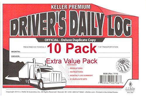 J.J. Keller 8526 701L Duplicate Copy Driver's Daily Log Book Carbonless - Pack of 10