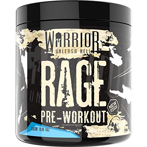 Warrior Supplements Rage Pre Workout Powder, Blazin' Blue Raspberry, 392g (45 Servings)