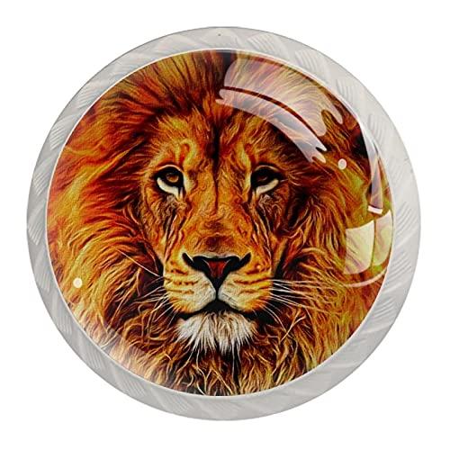 Fire Lion, 4 pomelli in vetro per cassetti e cassetti, rotondi, per cucina, credenza, bagno
