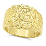 The Bling Factory 14k Gold Plated Nugget Ring, Size 8 + Microfiber Cloth