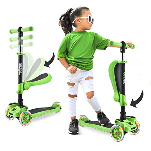 Hurtle ScootKid 3-Wheel Kids Scooter - Child & Toddler Toy Scooter with Built-in LED Wheel Lights, Fold-Out Comfort Seat (Ages 1+) (Green)
