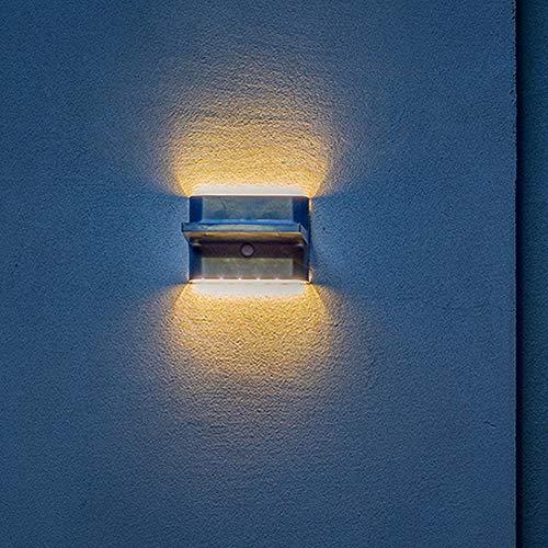 LUTEC Buitenlamp op zonne-energie, met bewegingsmelder, waterjou, wandlamp, op- en omlaag, warm wit licht, buitenlamp op zonne-energie
