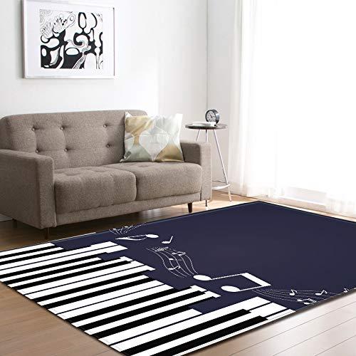 Grote tapijten voor woonkamer, eetkamer, slaapkamer, antislip, binnenkant, vloermatten, wooncultuur, abstracte piano muziek notes, modern afdruk 180 × 120 cm