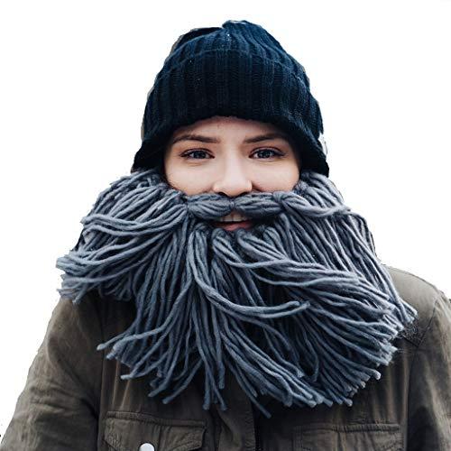 Beardo baardmuts Viking - gebreide muts met grijze baard
