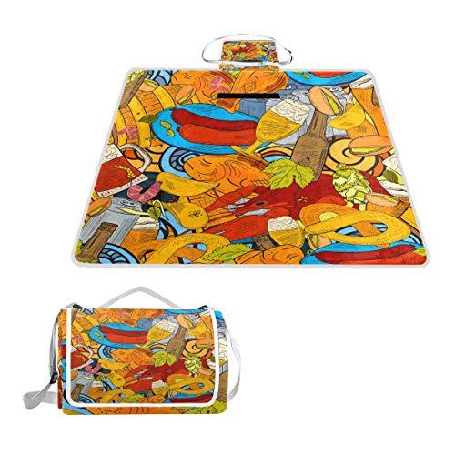XINGAKA Picknickdecke,Bier handgezeichnete Sketchy Doodle Collection nahtlos,Outdoor Stranddecke wasserdichte sanddichte tolle Picknick Matte