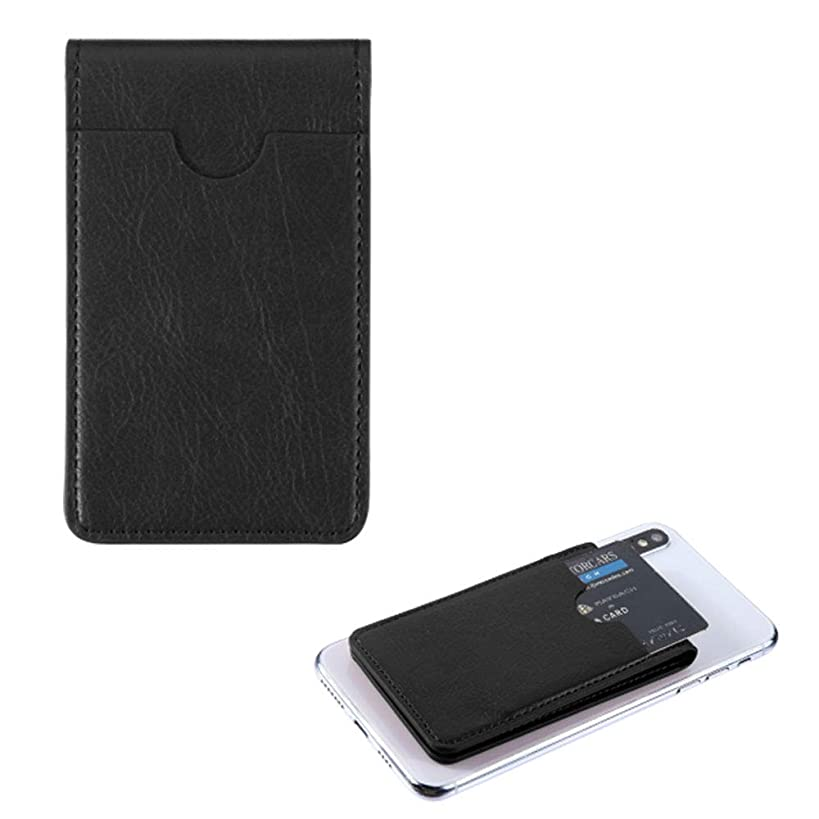 Pocket+Stylus, Fits Universal Apple ZTE LG MYBAT Black Leather Adhesive Card Pouch/Stand. Soft Spandex Sleeve Secure Wallet.Fits Most Phones,Tablets,Gadgets w Flat Surface.See Models Below: