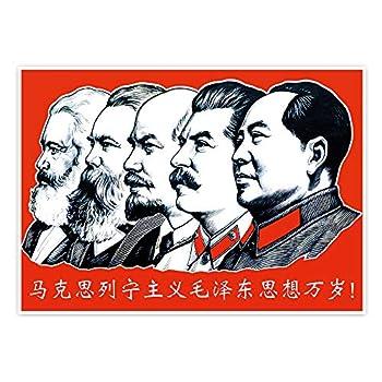 Communist Leader Marx Engels Lenin Engels Mao Zedong Poster 15.7X23.6 inches Vintage Decorative Painting