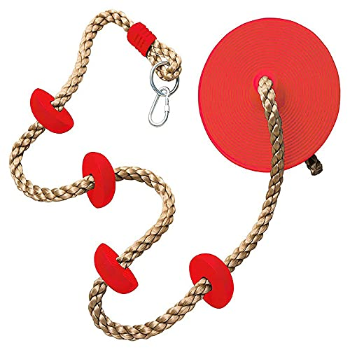 Kids Climbing Rope 2m / 6.5ft Tree Climbing Rope with Foot Holder Platform Disc Swing Seat Set Rope Ladder for Kids Outdoor Tree Backyard Gym Playground Swing Playground Accessories Support 150lbs