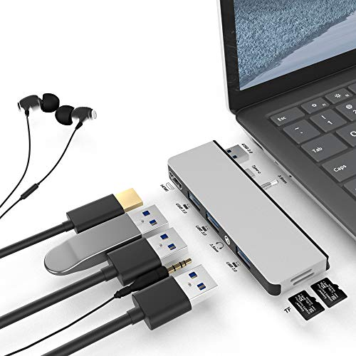 Rytaki Surface Laptop 3 Docking Station, Microsoft Surface Laptop 3 USB 3.0 Hub with 4K HDMI, 3 X USB 3.0 Ports, 2 X TF Card Reader, 3.5 Audio Port, Only Compatible with Surface Laptop 3